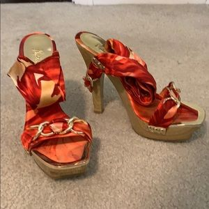 Marciano Satin Leg-wrap Platform Heels Sz 8